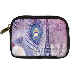 Peacock Feather White Rose Paris Eiffel Tower Digital Camera Leather Case