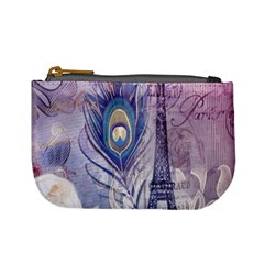 Peacock Feather White Rose Paris Eiffel Tower Coin Change Purse