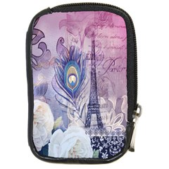 Peacock Feather White Rose Paris Eiffel Tower Compact Camera Leather Case