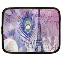 Peacock Feather White Rose Paris Eiffel Tower Netbook Case (xxl)