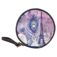 Peacock Feather White Rose Paris Eiffel Tower Cd Wallet