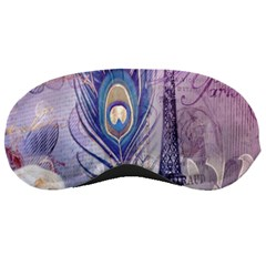 Peacock Feather White Rose Paris Eiffel Tower Sleeping Mask