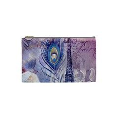 Peacock Feather White Rose Paris Eiffel Tower Cosmetic Bag (Small)