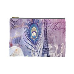 Peacock Feather White Rose Paris Eiffel Tower Cosmetic Bag (Large)