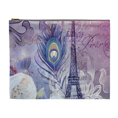 Peacock Feather White Rose Paris Eiffel Tower Cosmetic Bag (XL)