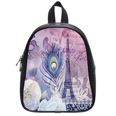 Peacock Feather White Rose Paris Eiffel Tower School Bag (Small)