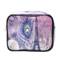 Peacock Feather White Rose Paris Eiffel Tower Mini Travel Toiletry Bag (one Side)