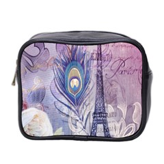 Peacock Feather White Rose Paris Eiffel Tower Mini Travel Toiletry Bag (Two Sides)