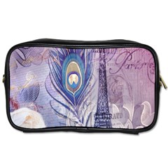 Peacock Feather White Rose Paris Eiffel Tower Travel Toiletry Bag (One Side)