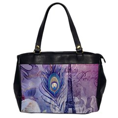 Peacock Feather White Rose Paris Eiffel Tower Oversize Office Handbag (One Side)
