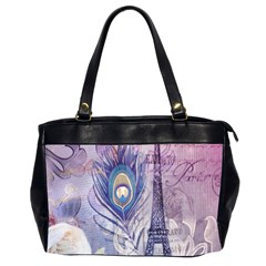 Peacock Feather White Rose Paris Eiffel Tower Oversize Office Handbag (Two Sides)