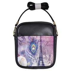 Peacock Feather White Rose Paris Eiffel Tower Girl s Sling Bag