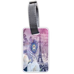 Peacock Feather White Rose Paris Eiffel Tower Luggage Tag (Two Sides)