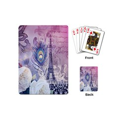 Peacock Feather White Rose Paris Eiffel Tower Playing Cards (Mini)