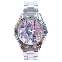 Peacock Feather White Rose Paris Eiffel Tower Stainless Steel Watch (Men s)