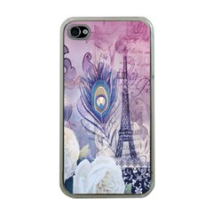 Peacock Feather White Rose Paris Eiffel Tower Apple iPhone 4 Case (Clear)