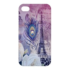 Peacock Feather White Rose Paris Eiffel Tower Apple iPhone 4/4S Hardshell Case