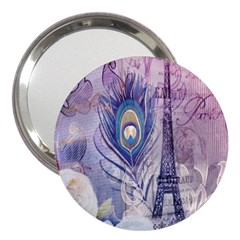 Peacock Feather White Rose Paris Eiffel Tower 3  Handbag Mirror