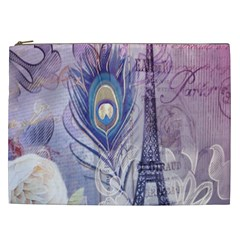 Peacock Feather White Rose Paris Eiffel Tower Cosmetic Bag (XXL)