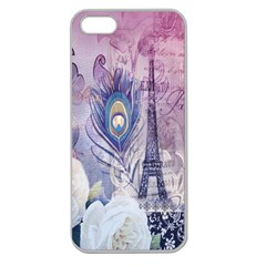 Peacock Feather White Rose Paris Eiffel Tower Apple Seamless iPhone 5 Case (Clear)