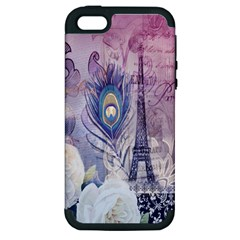 Peacock Feather White Rose Paris Eiffel Tower Apple iPhone 5 Hardshell Case (PC+Silicone)