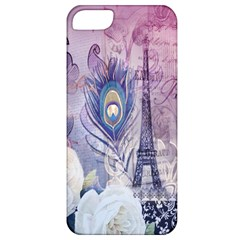 Peacock Feather White Rose Paris Eiffel Tower Apple Iphone 5 Classic Hardshell Case