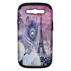 Peacock Feather White Rose Paris Eiffel Tower Samsung Galaxy S III Hardshell Case (PC+Silicone)