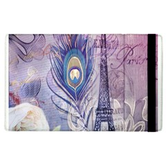 Peacock Feather White Rose Paris Eiffel Tower Apple iPad 3/4 Flip Case