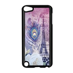 Peacock Feather White Rose Paris Eiffel Tower Apple Ipod Touch 5 Case (black)