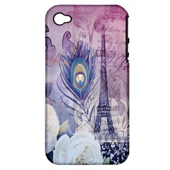 Peacock Feather White Rose Paris Eiffel Tower Apple Iphone 4/4s Hardshell Case (pc+silicone)