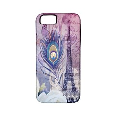Peacock Feather White Rose Paris Eiffel Tower Apple iPhone 5 Classic Hardshell Case (PC+Silicone)