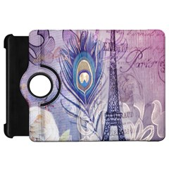 Peacock Feather White Rose Paris Eiffel Tower Kindle Fire HD 7  Flip 360 Case
