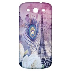 Peacock Feather White Rose Paris Eiffel Tower Samsung Galaxy S3 S III Classic Hardshell Back Case