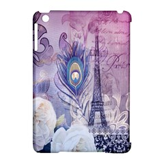 Peacock Feather White Rose Paris Eiffel Tower Apple iPad Mini Hardshell Case (Compatible with Smart Cover)