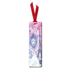 Peacock Feather White Rose Paris Eiffel Tower Small Bookmark