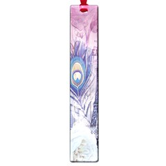 Peacock Feather White Rose Paris Eiffel Tower Large Bookmark