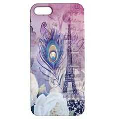 Peacock Feather White Rose Paris Eiffel Tower Apple Iphone 5 Hardshell Case With Stand