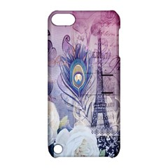 Peacock Feather White Rose Paris Eiffel Tower Apple Ipod Touch 5 Hardshell Case With Stand
