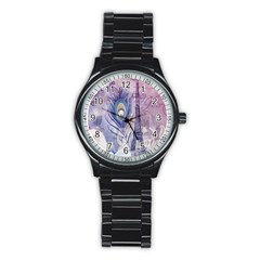 Peacock Feather White Rose Paris Eiffel Tower Sport Metal Watch (black)