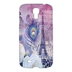 Peacock Feather White Rose Paris Eiffel Tower Samsung Galaxy S4 I9500/I9505 Hardshell Case