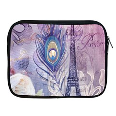 Peacock Feather White Rose Paris Eiffel Tower Apple iPad 2/3/4 Zipper Case