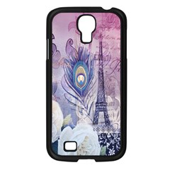 Peacock Feather White Rose Paris Eiffel Tower Samsung Galaxy S4 I9500/ I9505 (black)