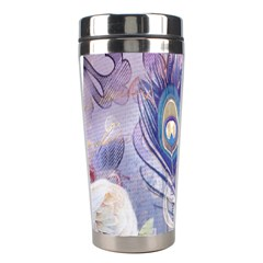 Peacock Feather White Rose Paris Eiffel Tower Stainless Steel Travel Tumbler