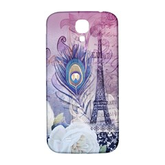 Peacock Feather White Rose Paris Eiffel Tower Samsung Galaxy S4 I9500/I9505  Hardshell Back Case