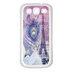 Peacock Feather White Rose Paris Eiffel Tower Samsung Galaxy S3 Back Case (White)