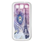 Peacock Feather White Rose Paris Eiffel Tower Samsung Galaxy S3 Back Case (White) Front