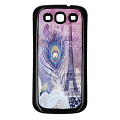 Peacock Feather White Rose Paris Eiffel Tower Samsung Galaxy S3 Back Case (black)