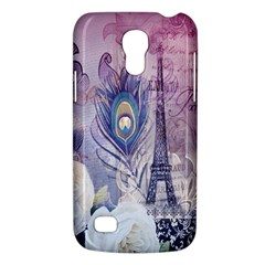 Peacock Feather White Rose Paris Eiffel Tower Samsung Galaxy S4 Mini Hardshell Case