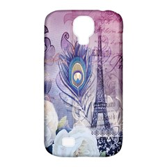 Peacock Feather White Rose Paris Eiffel Tower Samsung Galaxy S4 Classic Hardshell Case (PC+Silicone)