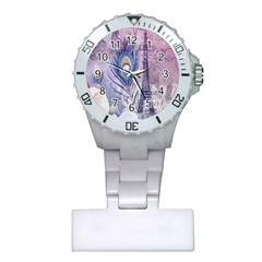 Peacock Feather White Rose Paris Eiffel Tower Nurses Watch